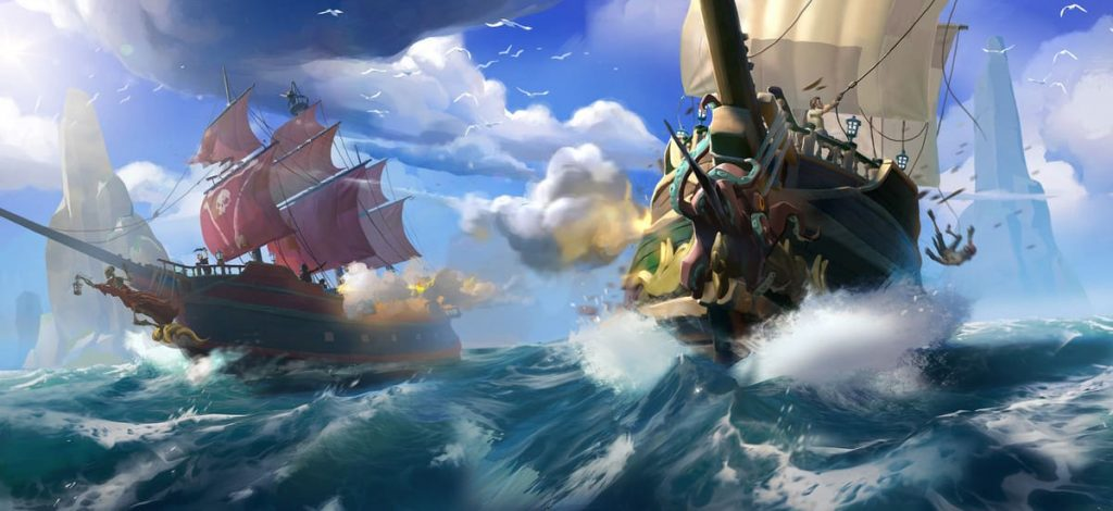 sea of thieves battle sea 0 min 1024x470 - اشتراک آنلاین دائم   Sea of Thieves